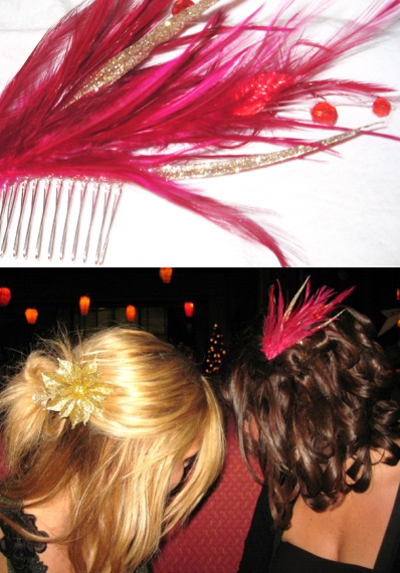 hair with feathers. this pretty feather hair