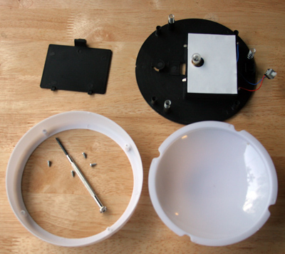 1. Dismantle Touch Light So It Will Fit Inside Larger Bowl, Facing Down.  You Will Either Discard All The White Parts, Or You Might Need To Trim The  Plastic ...