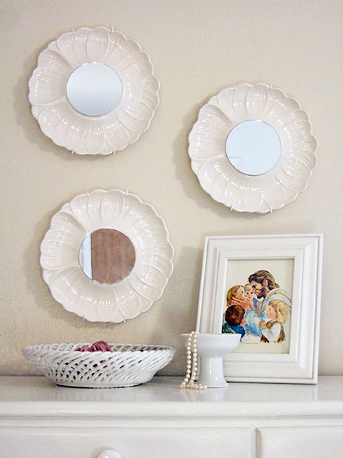 Transform plates into decorative mirrors dollar store crafts for Craft ideas for old dishes