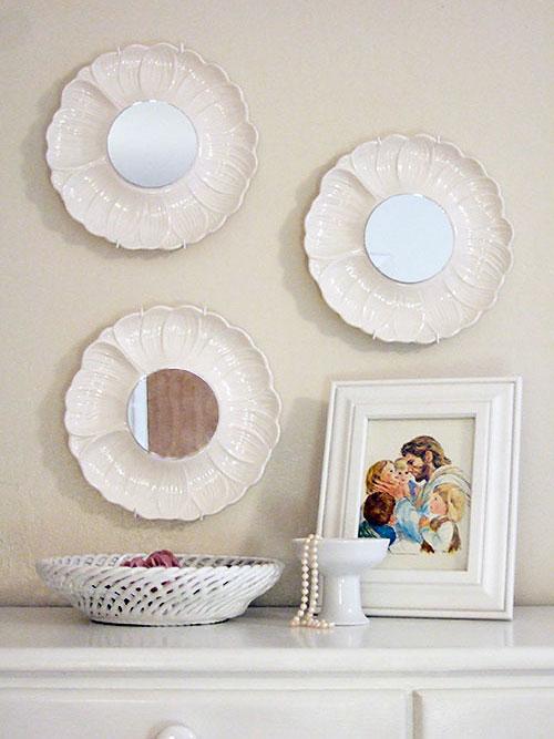 Transform plates into decorative mirrors dollar store crafts for Dollar store mirror craft