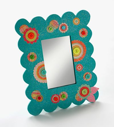 A mirror re do for a fashionable diva dollar store crafts for Dollar store mirror craft