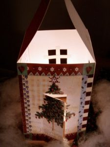 lit up christmas card house