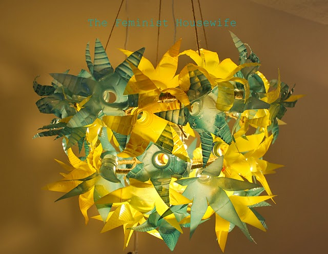 Make a recycled plastic bottle chandelier dollar store crafts this chandelier is made of 50 plastic water bottles caroline at the feminist housewife posted it over the weekend it was her recent entry in so you think mozeypictures Gallery