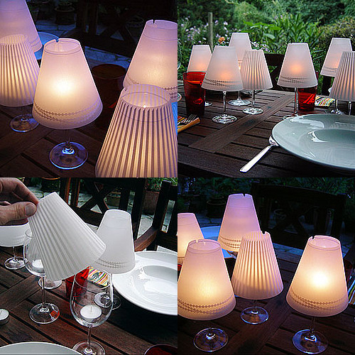 wine glass candle shades