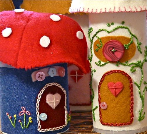Recycle canisters into an adorable mushroom village for Village craft container home