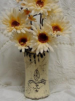 fleur de lis dimensional stencil vase