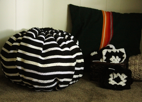 Make a Pouf from Throw Rugs » Dollar Store Crafts