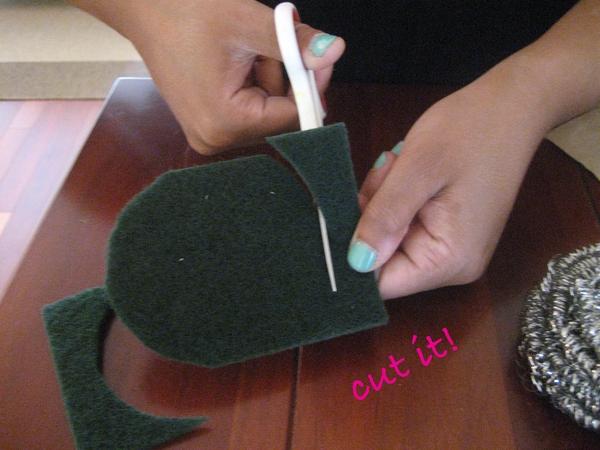 cut brillo pad backing