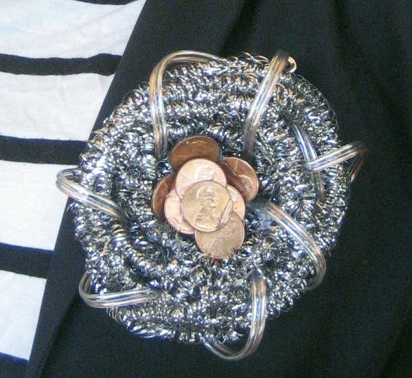 closeup of brooch