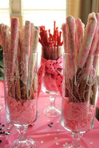 Chocolate Covered Pretzel Rods Pink