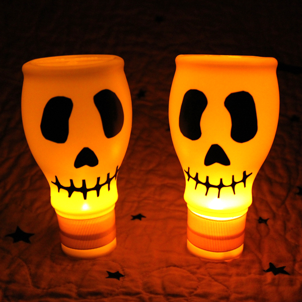 Recycled Halloween Decorations: Lighted Skulls From Recycled Materials » Dollar Store Crafts