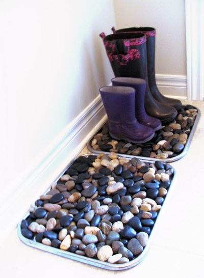 Make river rock boot trays dollar store crafts for River rock craft ideas