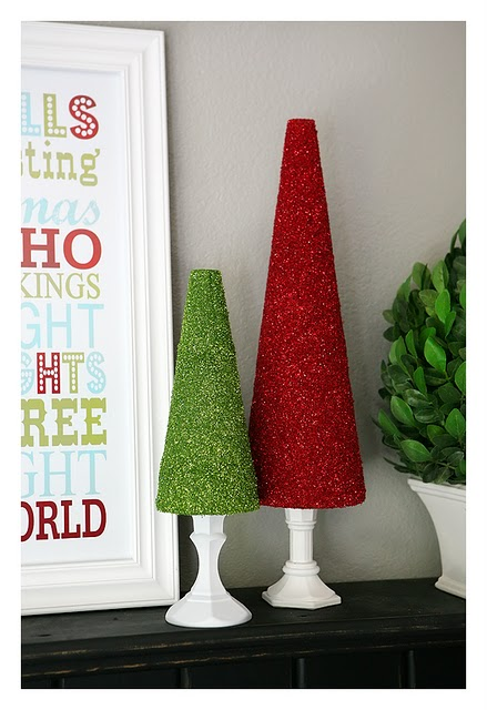 every holiday home needs a teeny bit of shimmer heres a simple christmas craft idea you can make with dollar store stuff glitter trees - Dollar Store Christmas Crafts