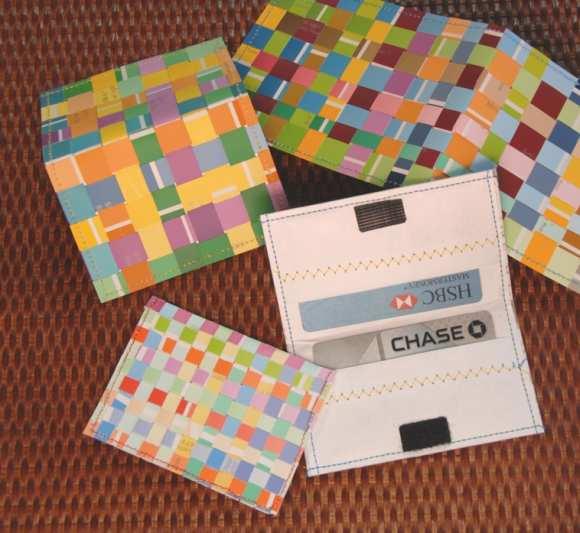 make a woven paint chip credit card holder dollar store. Black Bedroom Furniture Sets. Home Design Ideas