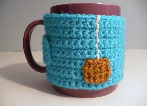 """Cup of Tea"" Chrocheted Mug Cozy by Rhonda Greene"