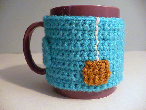 """Cup of Tea"" Crocheted Mug Cozy by Rhonda Greene"