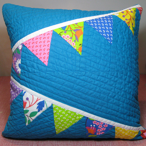 bunting pillow by crafty dame