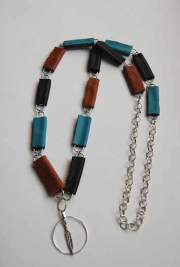 color block paperclip necklace