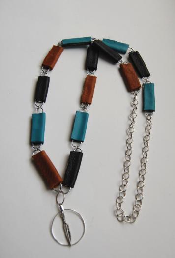 color block paperclip necklace