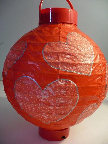 Heart Embellished Paper Lantern