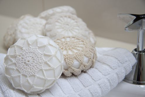 doily covered soap