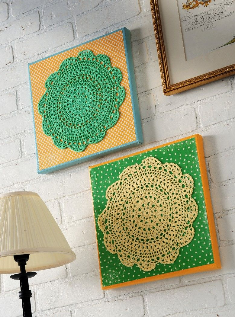Make colorful doily wall art dollar store crafts for Art and craft for wall decoration