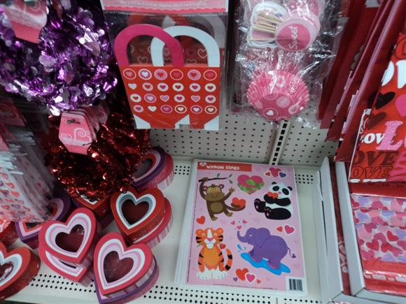 dollar store valentines section