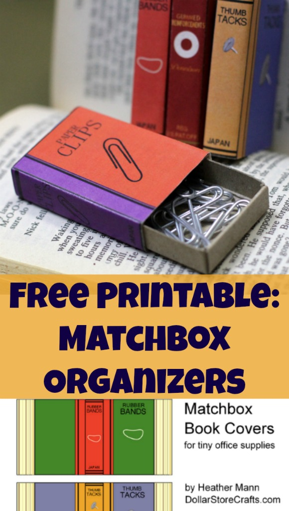 Free printable - turn dollar store matchboxes into cute office supply organizers!