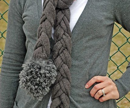 recycled sweater braided scarf