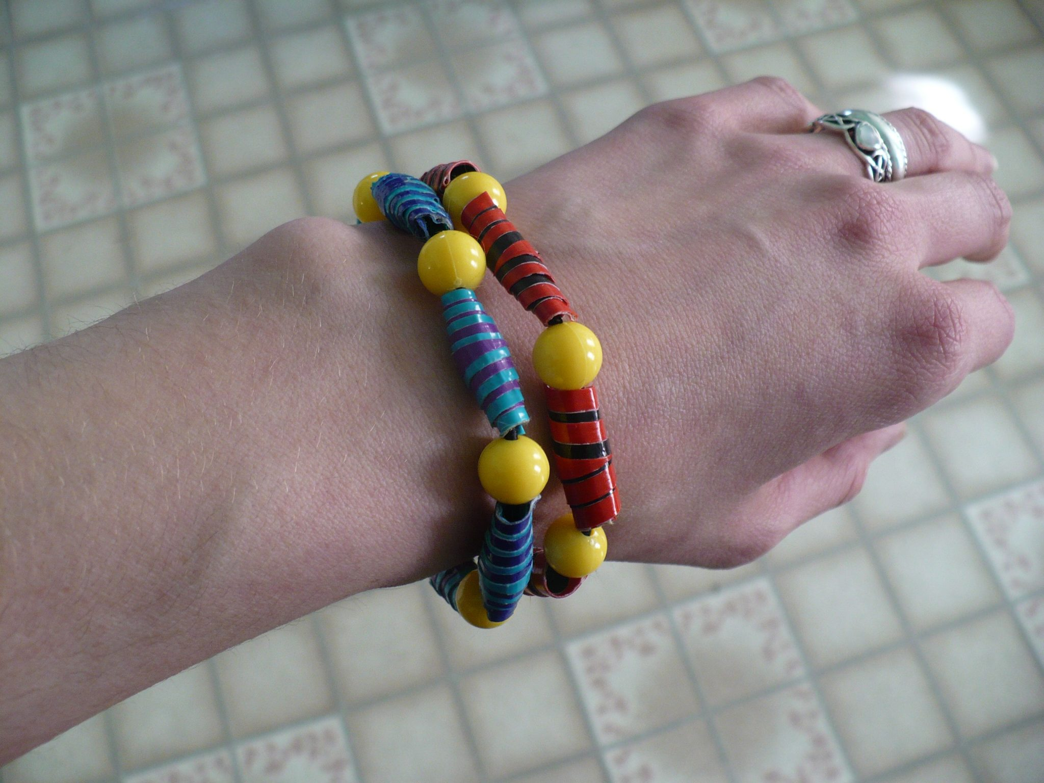 Make A Rolled Duct Tape Bead Bracelet Dollar Store Crafts