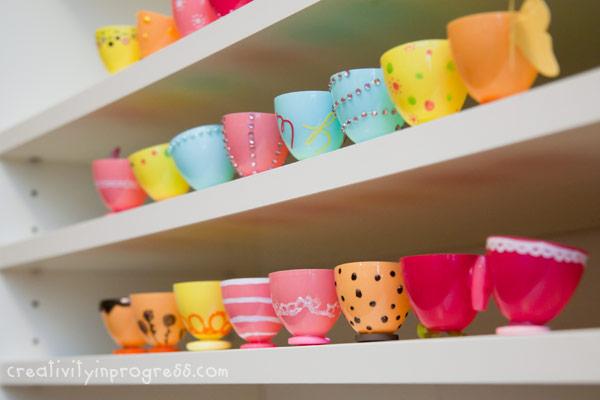 Make Plastic Easter Egg Teacups – Dollar Store Crafts