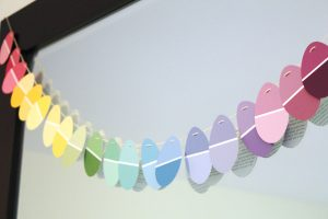 Paint chip egg garland