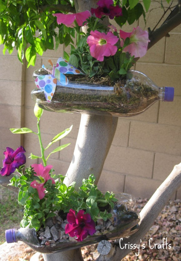 plastic bottles recycling garden decor
