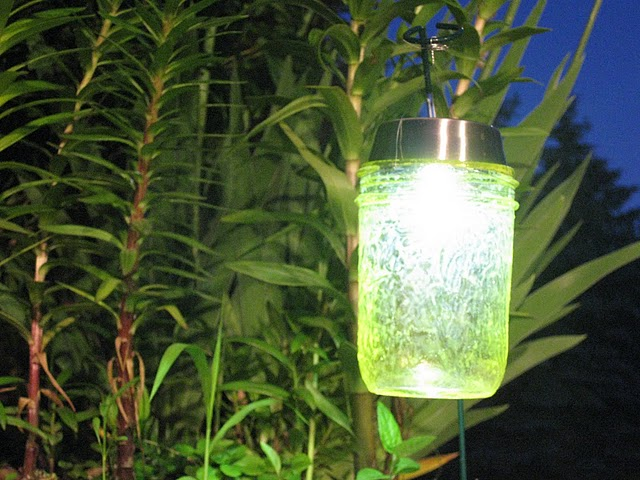 Make mason jar solar path lights dollar store crafts for Solar lights for craft projects