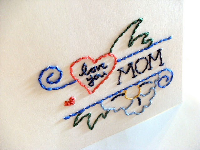 mothers day crafts ideas. [Embroidered Mother#39;s Day Card