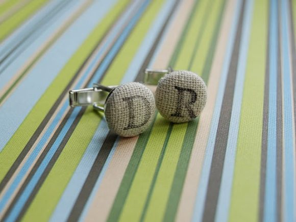 Stamped Initial Cuff Links for Father's Day