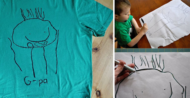 Kid Drawing Father's Day T-shirt » Dollar Store Crafts
