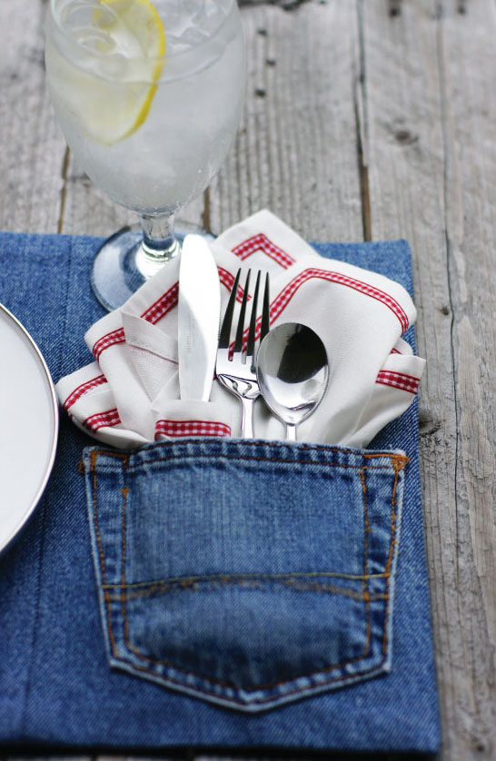Make Upcycled Denim Placemats 187 Dollar Store Crafts