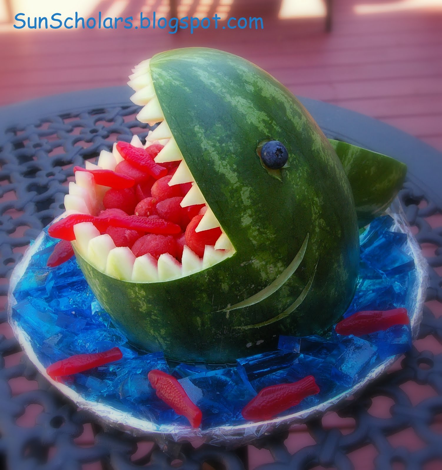 Make a watermelon shark snack dollar store crafts for Fun kid food crafts