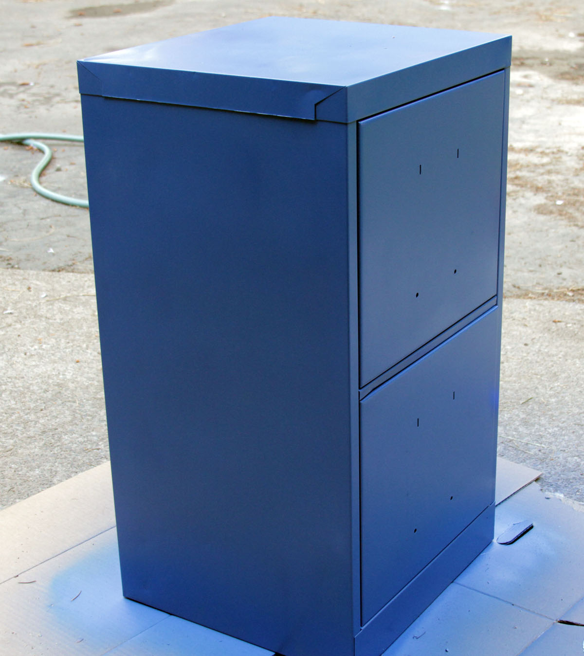 Paint a file cabinet blue 5 revamp dollar store crafts for How to repaint cabinets