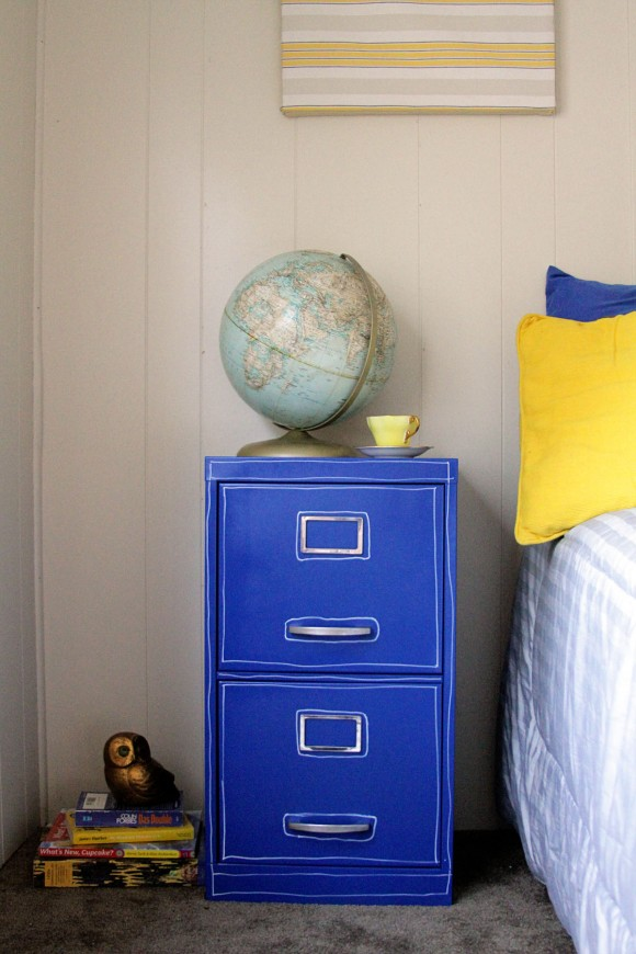 blue filing cabinet