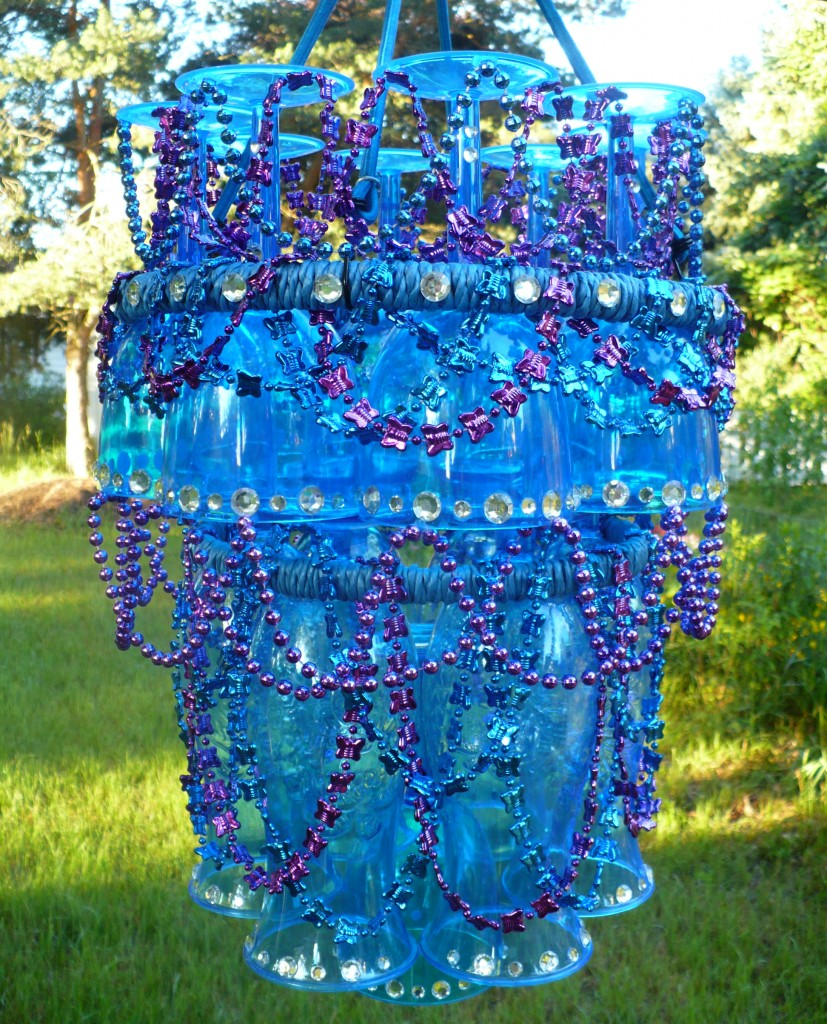 Make a plastic stemware outdoor chandelier dollar store for Chandelier craft ideas