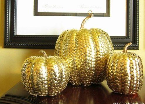 gold thumbtack pumpkin
