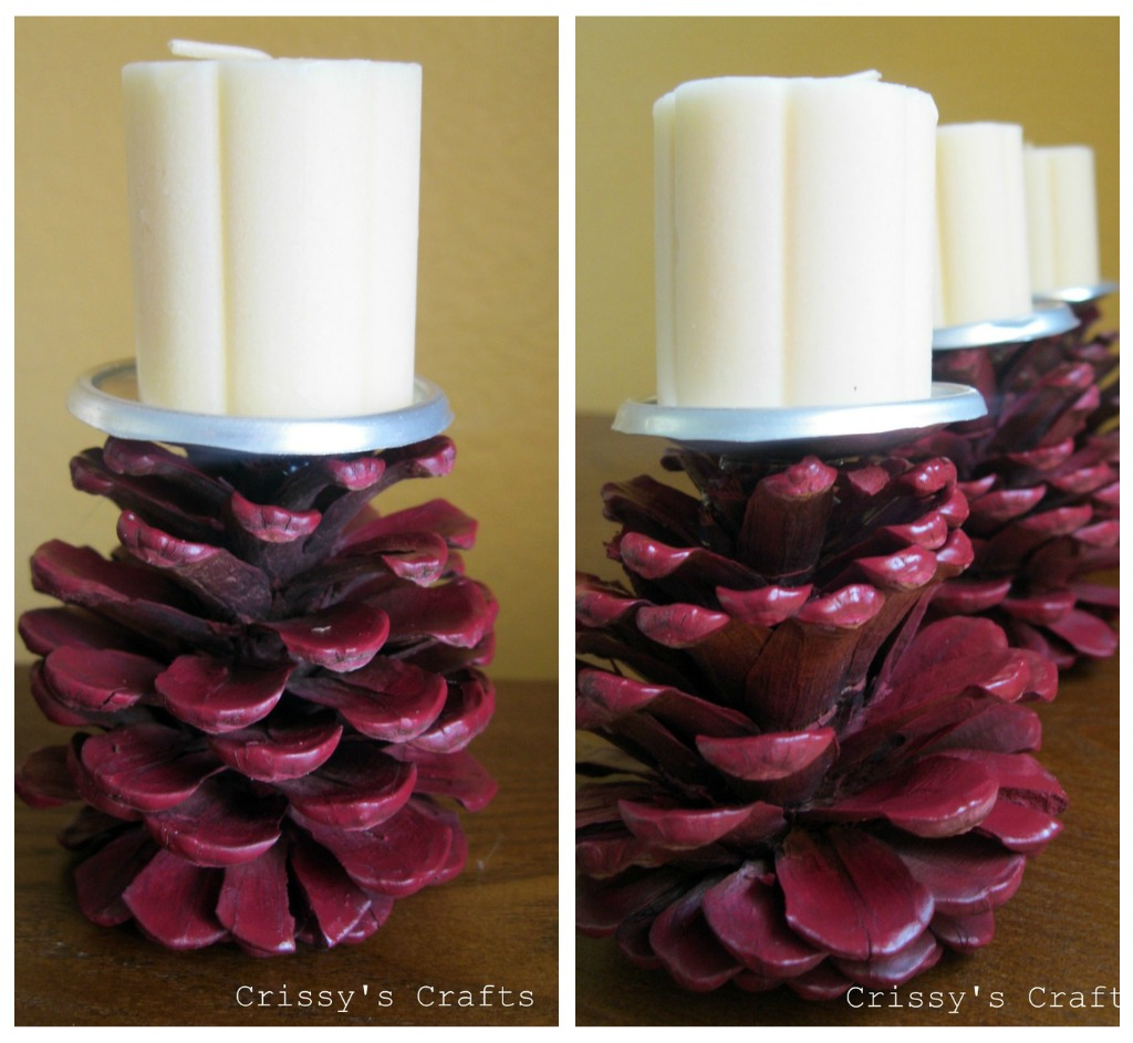 Make Pine Cone Candle Holders » Dollar Store Crafts