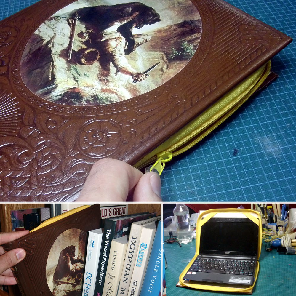 Old Book Computer Case : Man crafts netbook book cover dollar store