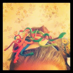 Heather's snake fascinator