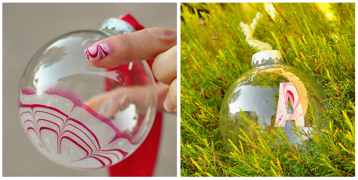 Make candy cane marbled christmas ornaments dollar store for Glass christmas balls crafts
