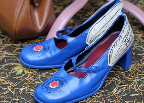 blue winged shoes