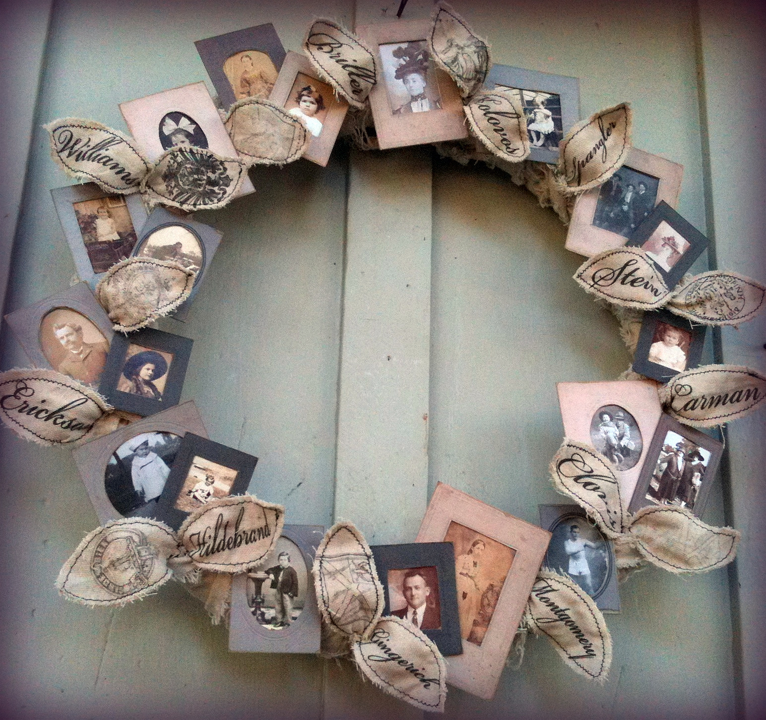 gift ideas for old family photos - Make a Family Tree Wreath – Dollar Store Crafts