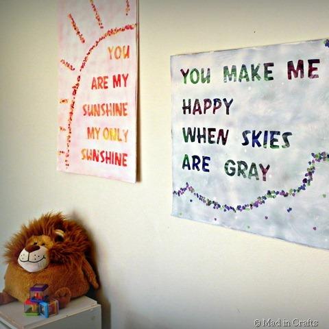 Fingerpainted Song Lyric Wall Art » Dollar Store Crafts